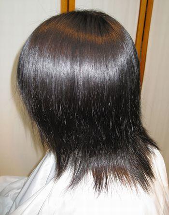 エンジェルストレートではこのレベルの毛髪でこのぐらいの仕上がり